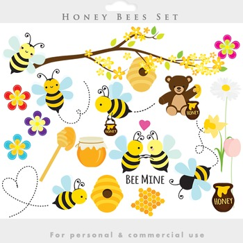 Bees clipart - honey clip art spring bumblebees whimsical flowers springtime
