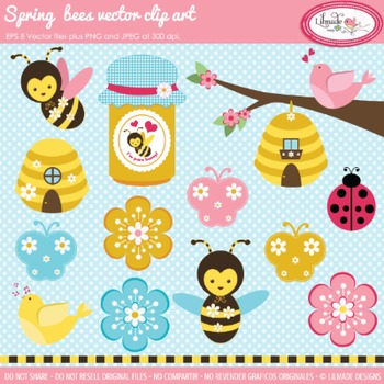 Bees, flowers and bugs vector clip arts