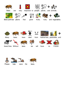 Bees on Endangered Animals List - Picture supported text visual lesson questions