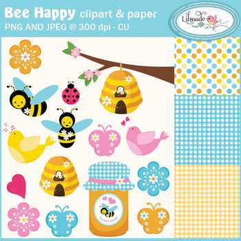 Bees,birds, butterflies, ladybug and flowers cliparts and digital papers