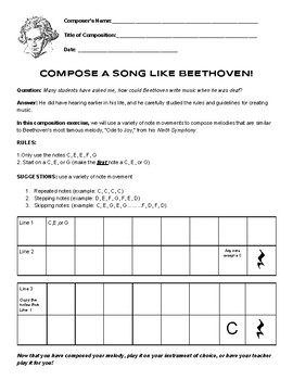 Beethoven Composition Project (LETTERS, not notation) - PART ONE