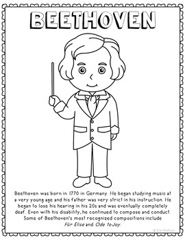 Beethoven, Famous Composer Informational Text Coloring Page Craft