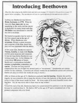 Beethoven Introduction Literacy/Activity Pack