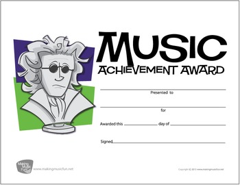 Beethoven Music Award Certificate