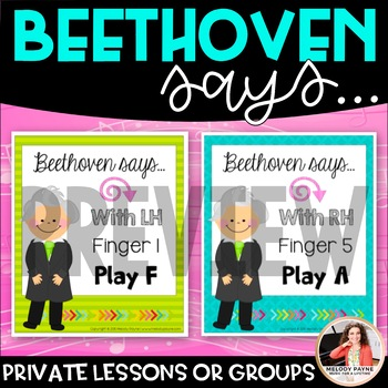 Beethoven Says! {RH, LH, Finger Numbers, and Piano Keys Review Game}