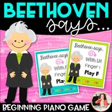 Beginning Piano Game: Beethoven Says! {RH, LH, Finger Numbers, Piano Keys}