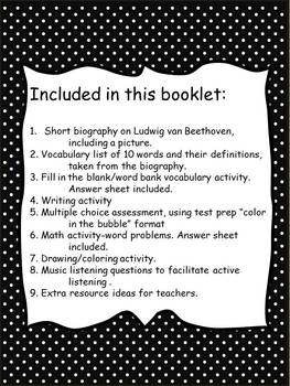 Beethoven Unit -Biography, Writing, Word Problems, Assesment Test Prep Style