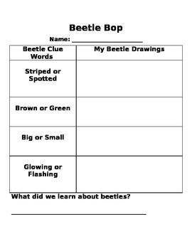 Beetle Bop Graphic Organizer