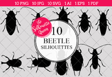 Beetle Silhouettes Clipart Clip Art (AI, EPS, SVGs, JPGs,