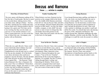 Beezus and Ramona Choice Board