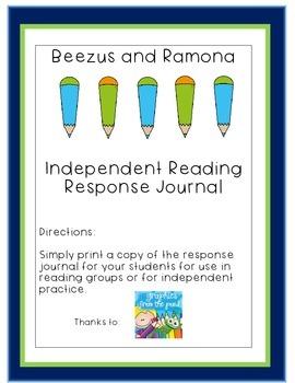 Beezus and Ramona Independent Reading Response Journal