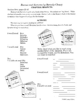 Beezus and Ramona Literature Activity Guide