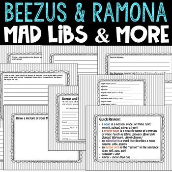 Beezus and Ramona Setting Switch, Character Twist, Mad Lib, Creative Writing