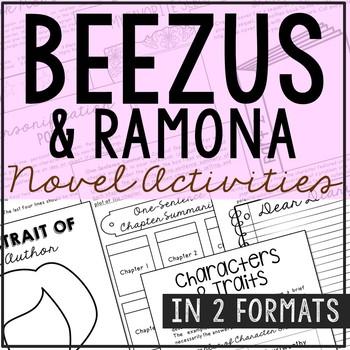 Beezus and Ramona Novel Unit Study Activities, Book Companion Worksheets