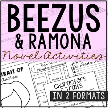 Beezus and Ramona Novel Unit Study Activities, Book Companion Worksheets