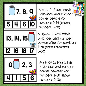 Before and After and Between Number Order for numbers 0-20