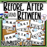 Spring Before and After and Between task cards for numbers 0-20