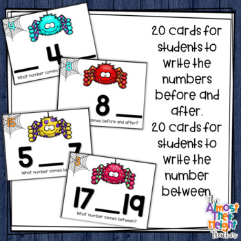Before, After & Between Number Order for numbers 0-20 ~ Spider Theme