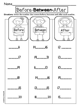 Before, After & Between (missing numbers) Differentiated