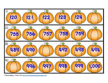 Before, After, and Between Numbers to 1,000 Pumpkins