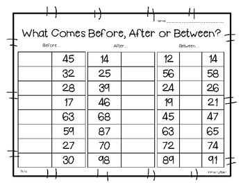 Before, After or Between? Math Number Sense Worksheet by 4 Little Baers