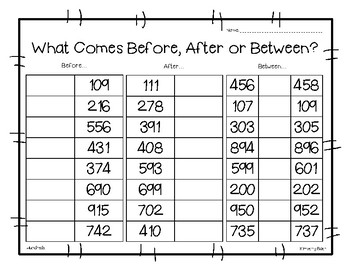 Before, After or Between? Math Number Sense Worksheet