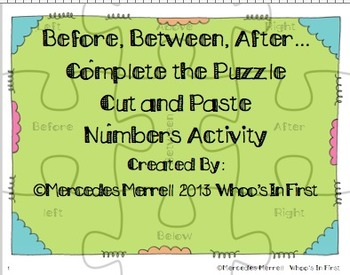 Before, Between, After... Complete the Puzzle Cut and Past