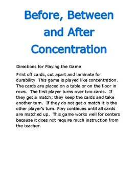 Before, Between and After Concentration Game