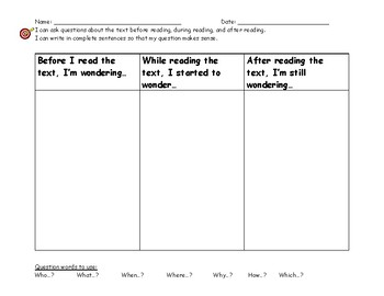 Before, During, After Question Organizer