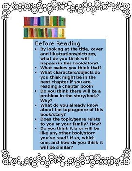 Before/During/After Questions for Independent Reading/Self-Monitoring