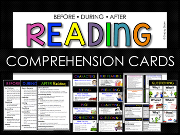 Before, During, After Reading Comp Cards (RL 1 Ask & Answer Questions)