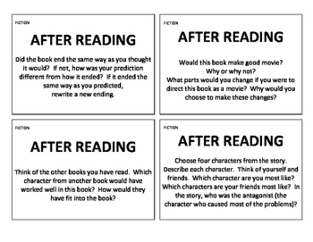Before, During, and After Reading Comprehension Question Cards