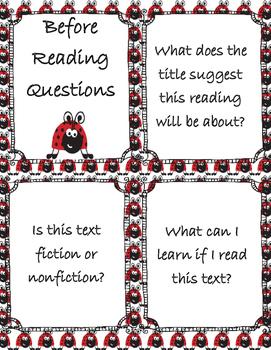 Reading Centers: Before, During, and After Reading Task Cards