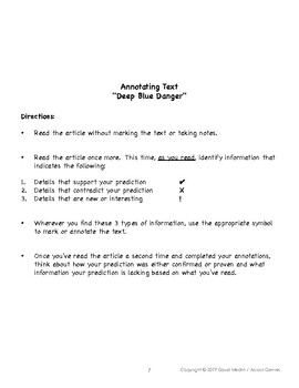 Before, During & After Reading for Grades 7 & 8:  Informational Text Lesson 1