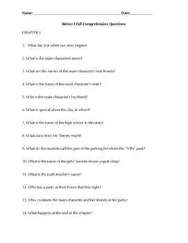 Before I Fall by Lauren Oliver ~ Comprehension Questions