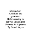 Before Reading Activities for Flowers for Algernon