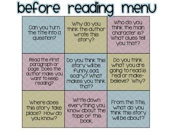 Before Reading Activity Menu