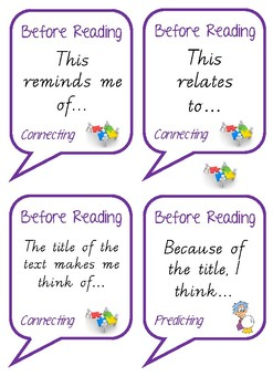 Comprehension Discussions - Before Reading Sentence Starters
