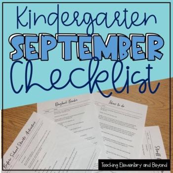 Kindergarten September Start Up Checklist