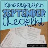 Checklist for Organizing and Planning Kindergarten September Start of School