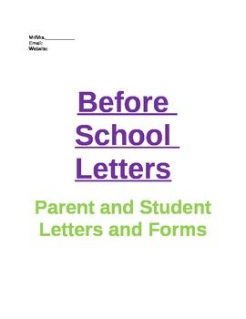 Before School Student and Parent Letters
