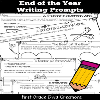 End of the Year Writing Activities   Social Emotional Learning Prompts
