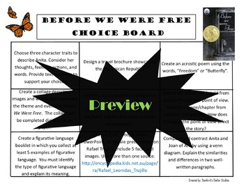Before We Were Free Choice Board Novel Study Activities Menu Book Project