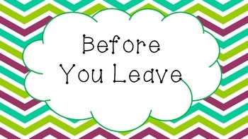 Before You Leave