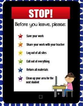 'Before You Leave' Elementary Computer/Technology Lab Reminders Poster