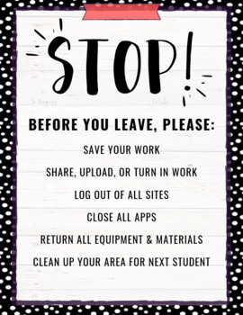 Before You Leave Reminder Posters for Tech Labs - Black & White BUNDLE!