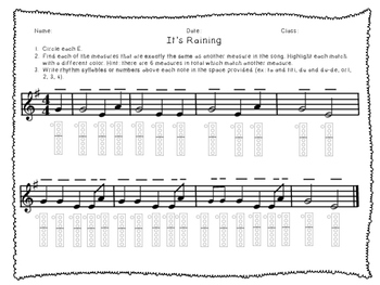 Before You Play It's Raining Worksheet- Recorder