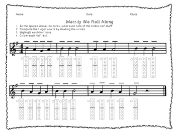 Before You Play Merrily We Roll Along Worksheet- Recorder