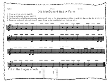Before You Play Old MacDonald Worksheet- Recorder