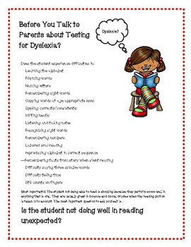 Before You Refer for Dyslexia Informational Sheet